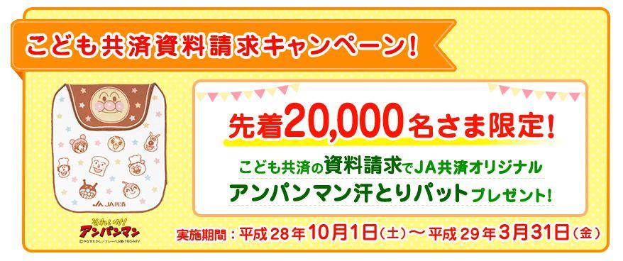 [先着20,000名様]こども共済資料請求キャンペーン!アンパンマン汗とりパットプレゼント!